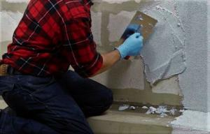 "How to make repairs and to ""survive"". Elementary User filler concrete blocks"