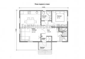 Economical Design trehfrontonnom house 6x9 m with 4 bedrooms